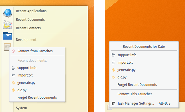Per-application recent documents in Application Menu and Task Manager 5.3
